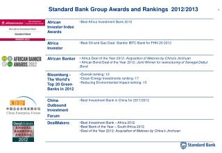Standard Bank Group Awards and Rankings  2012/2013