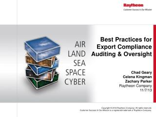 Best Practices for Export Compliance Auditing & Oversight