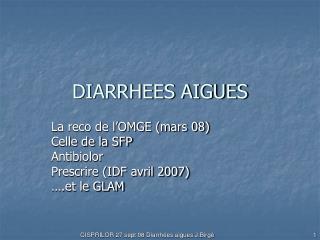 DIARRHEES AIGUES