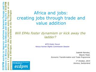 Africa and jobs: creating jobs through trade and value addition