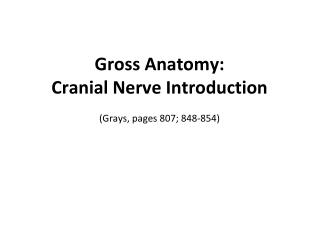 Gross  Anatomy: Cranial Nerve Introduction (Grays, pages 807; 848-854)