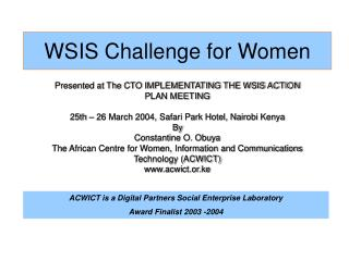 WSIS Challenge for Women