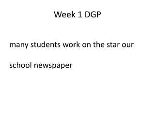 Week 1 DGP