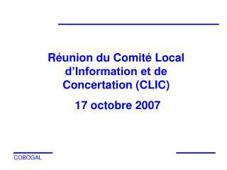 R�union du Comit� Local d�Information et de Concertation (CLIC)  17 octobre 2007