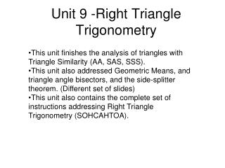 Unit 9 -Right Triangle Trigonometry