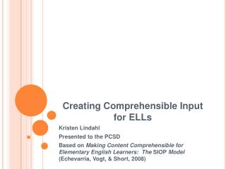 Creating Comprehensible Input for ELLs