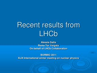 Recent results from LHCb