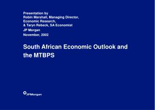 South African Economic Outlook and the MTBPS