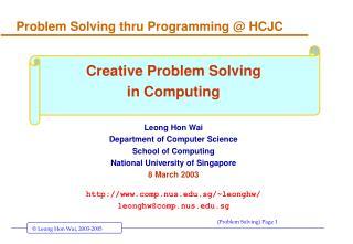 Problem Solving thru Programming @ HCJC