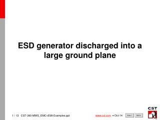 ESD generator discharged into a large ground plane