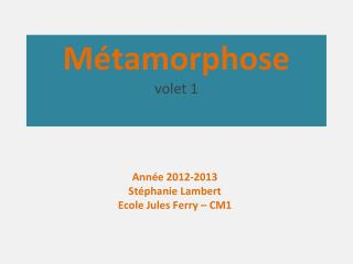Métamorphose volet 1