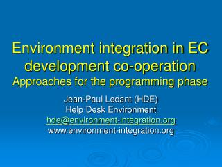 Environment integration in EC development co-operation Approaches for the programming phase