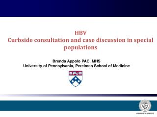 HBV Curbside consultation and case discussion in special populations