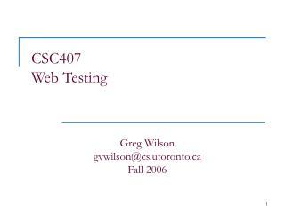 CSC407 Web Testing