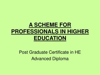 A SCHEME FOR PROFESSIONALS IN HIGHER EDUCATION
