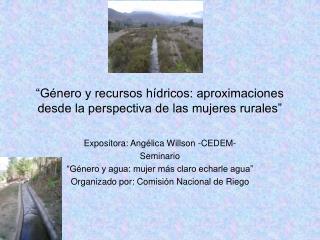 """""""Género y recursos hídricos: aproximaciones desde la perspectiva de las mujeres rurales"""""""
