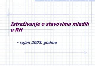 Istraživanje o stavovima mladih u RH