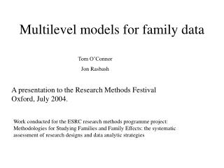Multilevel models for family data