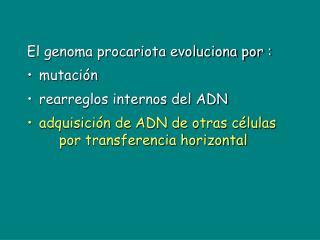 El genoma procariota evoluciona por :  mutación rearreglos internos del ADN