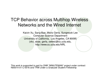 TCP Behavior across Multihop Wireless Networks and the Wired Internet