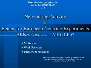 Networking Activity  on  Beams for European Neutrino Experiments  BENE-Next  ….. MEGLIO?