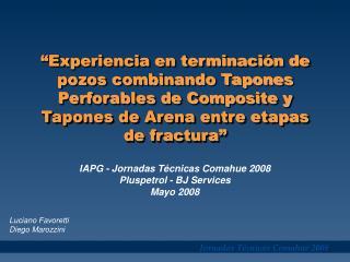 IAPG - Jornadas Técnicas Comahue 2008  Pluspetrol - BJ Services  Mayo 2008