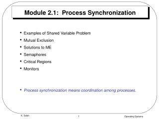Module 2.1:  Process Synchronization