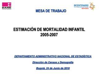 ESTIMACIÓN DE MORTALIDAD INFANTIL 2005-2007