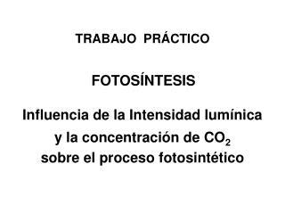 TRABAJO  PRÁCTICO FOTOSÍNTESIS Influencia de la Intensidad lumínica  y la concentración de CO 2