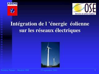 Intégration de l'énergie  éolienne sur les réseaux électriques