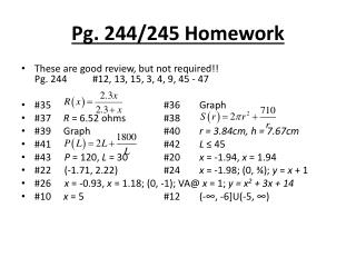 Pg. 244/245 Homework