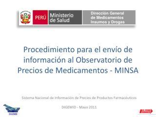 Procedimiento para el envío de información al Observatorio de Precios de Medicamentos - MINSA