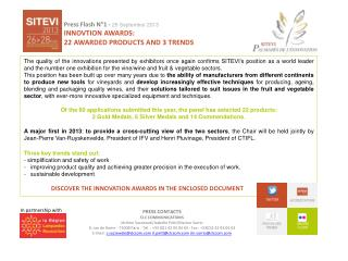 Press  Flash N°1 -  26  September 2013 INNOVTION AWARDS:  22  awarded products  AND 3 trends