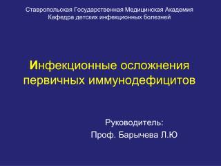 Руководитель: Проф. Барычева Л.Ю