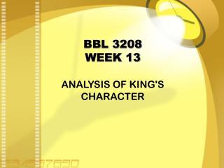 BBL 3208 WEEK 13