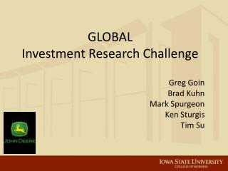 GLOBAL Investment Research Challenge