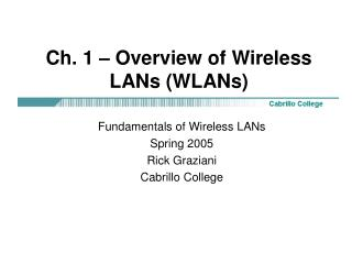 Ch. 1 – Overview of Wireless LANs (WLANs)