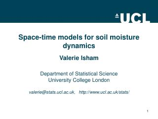 Space-time models for soil moisture dynamics
