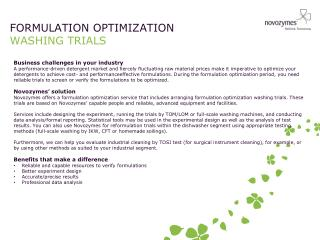 FORMULATION OPTIMIZATION WASHING TRIALS