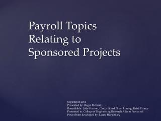 Payroll Topics Relating to Sponsored Projects