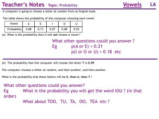 Teacher's Notes   Topic:  Probability