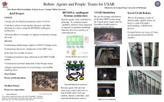 GOALS  design and develop heterogeneous teams of robots