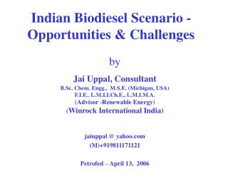 Indian Biodiesel Scenario - Opportunities  Challenges
