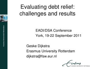 Evaluating debt relief: challenges and results