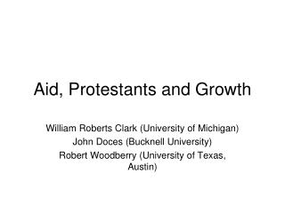 Aid, Protestants and Growth