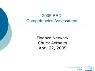2005 PRD  Competencies Assessment