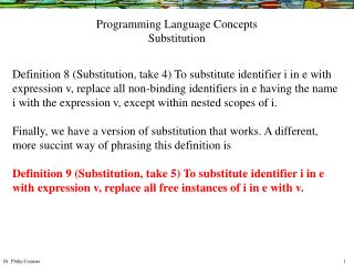 Programming Language Concepts Substitution