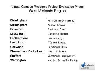 Virtual Campus Resource Project Evaluation Phase West Midlands Region