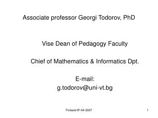 Associate professor Georgi Todorov, PhD