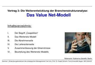 Vortrag 3: Die Weiterentwicklung der Branchenstrukturanalyse: Das Value Net-Modell